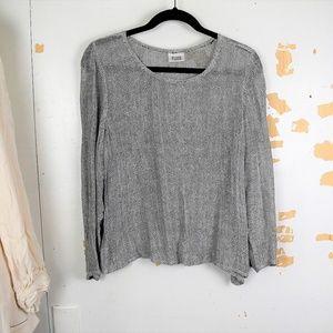Eileen Fisher Linen Blend Gray Open Knit Sweater S